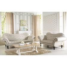 Two Loveseat Living Room Baxton Studio Bostwick Beige Linen Classic Victorian Sofa Set By
