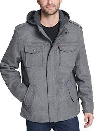 <b>Levi's</b> Men's <b>Wool</b> Blend Military <b>Jacket</b> With Hood <b>Coat</b>: Amazon.co ...
