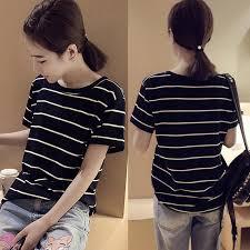 Women's T-shirts for <b>Girls Korean Summer</b> Loose Striped Tops Tees ...