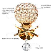 Artistic <b>Modern</b> Crystal Wall Lights, <b>Golden Chrome Finish</b> Indoor ...