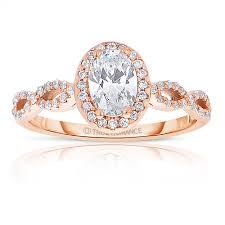 Rm1390vrs -<b>14k Rose Gold</b> Oval Cut Halo <b>Diamond</b> Infinity ...