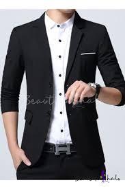 Men's Stylish <b>Notched</b> Lapel Solid Long Sleeve <b>Double Button</b> ...
