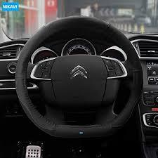 NIKAVI Flat Bottom Steering Wheel Cover, <b>Genuine</b> PU <b>Leather D</b> ...