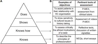 assessment of professionalism in students of health related a examples of objectives relevant to progressive levels of professional competence b examples of pertinent assessment tools