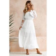 Moonbiffy <b>Summer Sundress Long Women</b> White Beach Dress ...