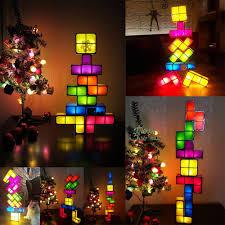 Creative <b>LED Tetris</b> Puzzle Novelty Night <b>Light</b> Stackable Desk ...