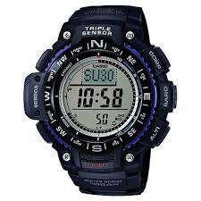 <b>Men's</b> Casio Triple <b>Sensor</b> Compass <b>Watch</b> With Resin Strap - Black ...