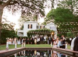 backyard wedding with string lights backyard wedding lighting