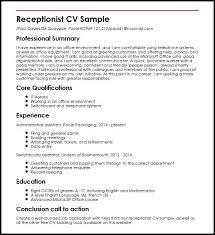Receptionist CV Sample | Curriculum Vitae Builder Receptionist CV Sample