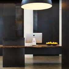 metal modern industrial plate steel reception desk with maple live edge slab top boutique reception counter