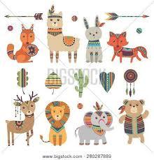 Tribal animals. Cute zoo squirrel llama hare <b>fox</b> deer <b>lion</b> elephant ...
