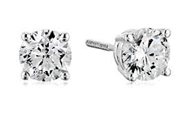 Certified 14k White Gold Diamond with Screw Back ... - Amazon.com