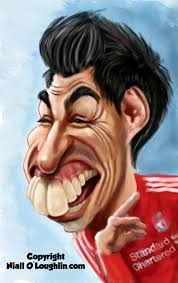 Caricatura de Luis Suárez. Fuente: http://nialloloughlin.blogspot.com.es/2011/08/luis-suarez-caricature.html. Pin It · Comparte en Tumblr - Caricatura-de-Luis-Suarez