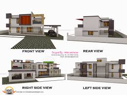 d view   plan   Kerala home design and floor plansHouse all sides view  Ground floor plan