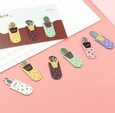 3Pcs /Set Fresh <b>Cute Cactus Magnetic Bookmarks</b> Stationery School ...
