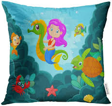 <b>Mermaid</b>/<b>red hair</b> pillow cover 18x18 with invisible zipper Home ...