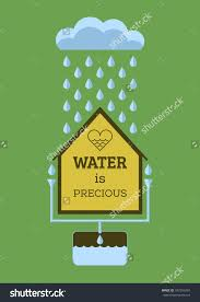 rain water saving water precious flat stock vector  rain water saving water is precious