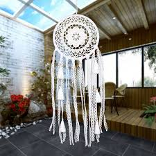 2019 Ptsp White Lace Flower <b>Dreamcatcher</b> Wind Chimes <b>Indian</b> ...