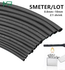 <b>5 METER</b>/LOT <b>2:1 Black</b> 0.8mm~10mm Polyolefin Cable Sleeves ...