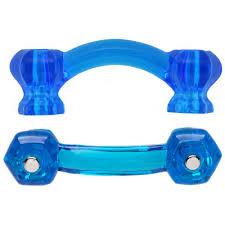Hexagonal <b>Peacock</b> Blue Glass Bridge <b>Drawer</b> Pull