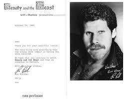 photos  description 5 x 7 black and white photo of ron perlman printed autograph and signed half sized letter genuine autograph