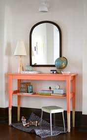 diy entry table from ikeas svalbo table via thesweetbeastblog cheap entryway furniture