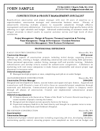 construction and project management specialist resume example 06lyrnlx construction superintendent resume examples