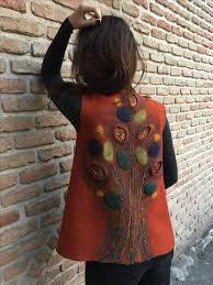 """Hand felted vest """"<b>Fire</b> Leaves"""" #felting #feltedvest #vest #felt #felted ..."""