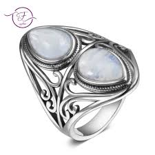 Men and women 925 sterling silver jewelry DIY retro ring <b>natural</b> ...