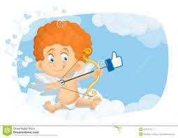 Cute Cupid Cartoon in Internet Online Dating Concept Vector