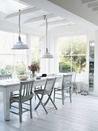 Dining Room Pendant Light White Dining Room With Industrial Pendant Lights And Long White