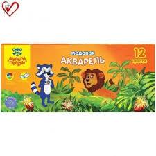 """<b>Акварель Мульти</b>-<b>Пульти</b> """"Енот в джунглях"""", <b>медовая</b>, 12 цветов ..."""