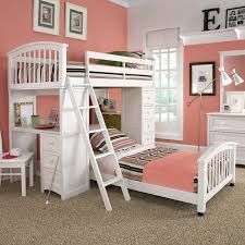 bedroom white wooden loft bed with stripped bed sheet combined with drawers and study astounding modern loft bed