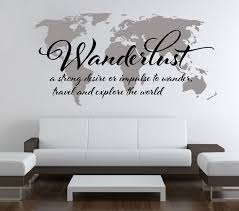 Wanderlust Travel Quote World Map Wall Art Decal by decalSticker ... via Relatably.com