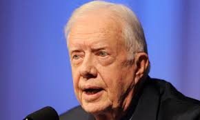 Jimmy Carter speaking after his return from North Korea, where he says officials made overtures about abandoning nuclear weapons. - Jimmy-Carter-speaking-aft-006