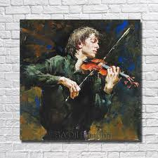 High Quality <b>100</b>% <b>Hand painted Abstract</b> Man Play Violin Oil ...