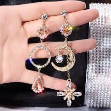 BELLA  <b>S925 silver needle</b> Hyperbole asymmetrical diamond ...