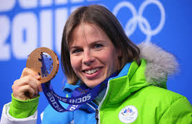 Bronze medalist Vesna Fabjan of Slovenia celebrates during the medal ceremony for the Ladies' Sprint Free on day five of the Sochi 2014 ... - Vesna%2BFabjan%2BMedal%2BCeremony%2BWinter%2BOlympics%2BJvk-3VrXfURl