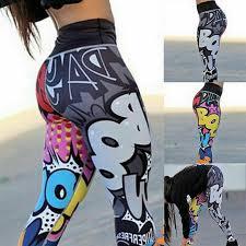 Женщины цифровые граффити Печати <b>Высокий Waist</b> йога ...