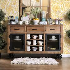 room servers buffets: furniture of america matthias industrial rustic pine mobile dining buffet server