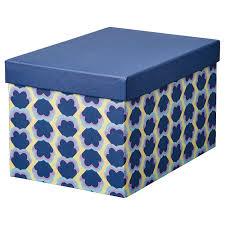 <b>ТЬЕНА Коробка</b> с крышкой - синий, с рисунком - <b>IKEA</b>
