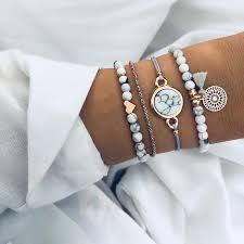 <b>2019 Bohemian Marble Stone</b> Beads Bracelet Set For Women ...