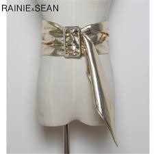 <b>RAINIE SEAN Womens</b> Wide <b>Leather</b> Belt For Dress Gold Bucklt ...