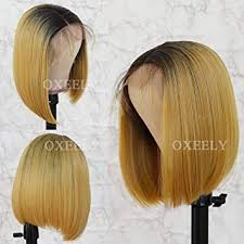 Oxeely Hair Short Bob Blonde Color Hair Lace front ... - Amazon.com