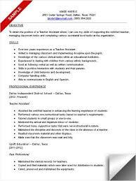 Teacher assistant resume sample  Pinterest
