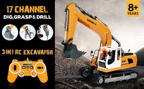 DOUBLE E 17 Channel Full Functional RC Excavator ... - Amazon.com