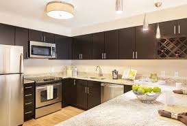 kitchen cabinets with granite countertops:  modern kitchen apartment model black cabinet and white granite countertop ideas decor with big