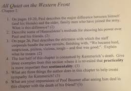 from chapter  in all quiet on the western front describe some of    from chapter  in all quiet on the western front describe some of himmelstoss    s methods for showing his power over paul and his friends