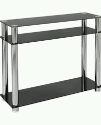 contemporary modern rectangle black glass console table with shelf and storage plus chrome legs ideas black and chrome furniture