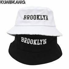 Новые мужские женские Brooklyn ведро шляпа хлопок печать хип ...